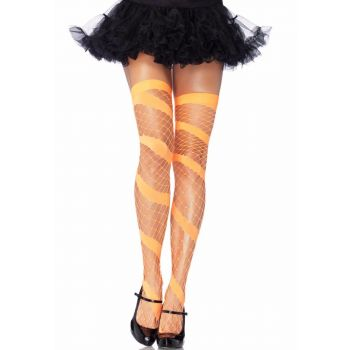 Swirl Net Kousen, 3 kleuren-Neon Orange