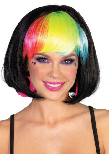 POP RAINBOW BANG BOB WIG-black